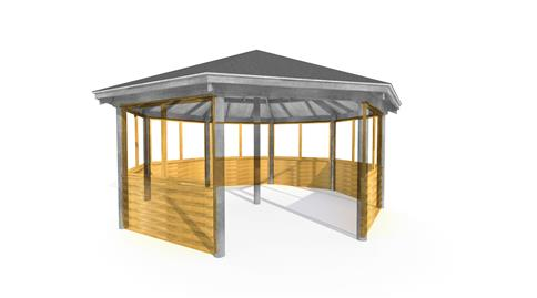 6M Octagonal Gazebo Clad and Glazed Sides