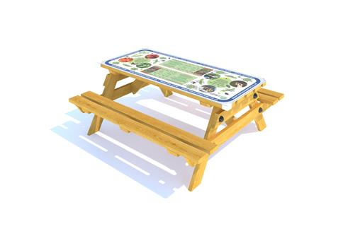 Picnic Table with Composter and Veggies Top