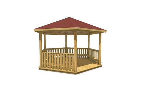 5M Hexagonal Gazebo with Decked Base