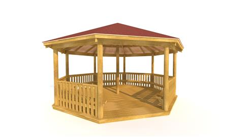 6M Octagonal Gazebo with Decked Base