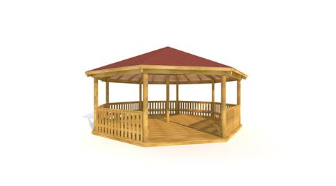7.5M Octagonal Gazebo with Decked Base
