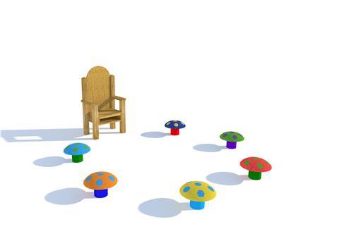Storytelling Circle with Mushroom Seats