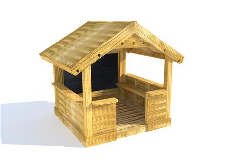 Small Playhouse with Walls, Chalkboard and Benches