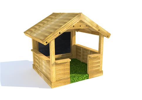 Small Playhouse with Walls, Chalkboard and Playturf Base