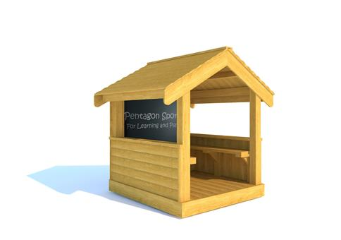 Small Playhouse with Seating and Chalkboard