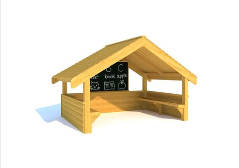 Giant Playhouse with Walls, Seating and Chalkboard