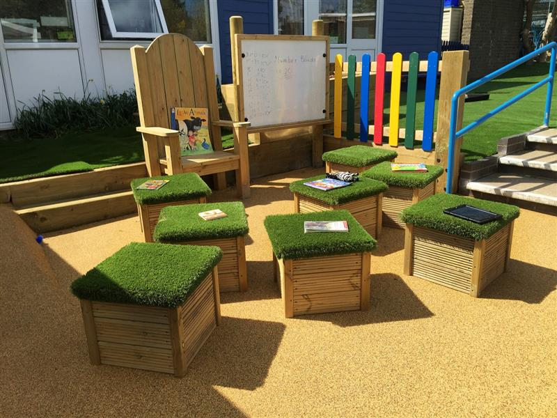 Small Moveable Artificial Grass Topped Seat Pentagon Play