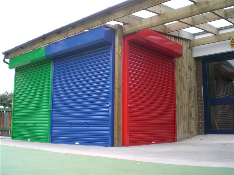 School canopy with glazing roller shutter pentagon play - The shutter clad house ...
