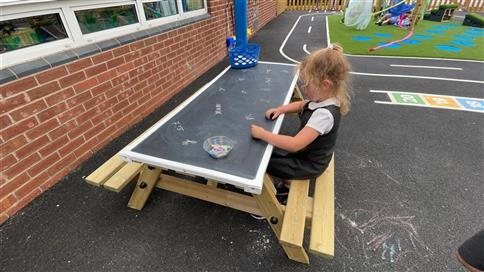 Picnic Table with Chalkboard Top