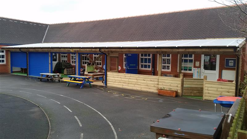 Canopy Outdoor Classroom to solve free flow needs for Haslington Primary