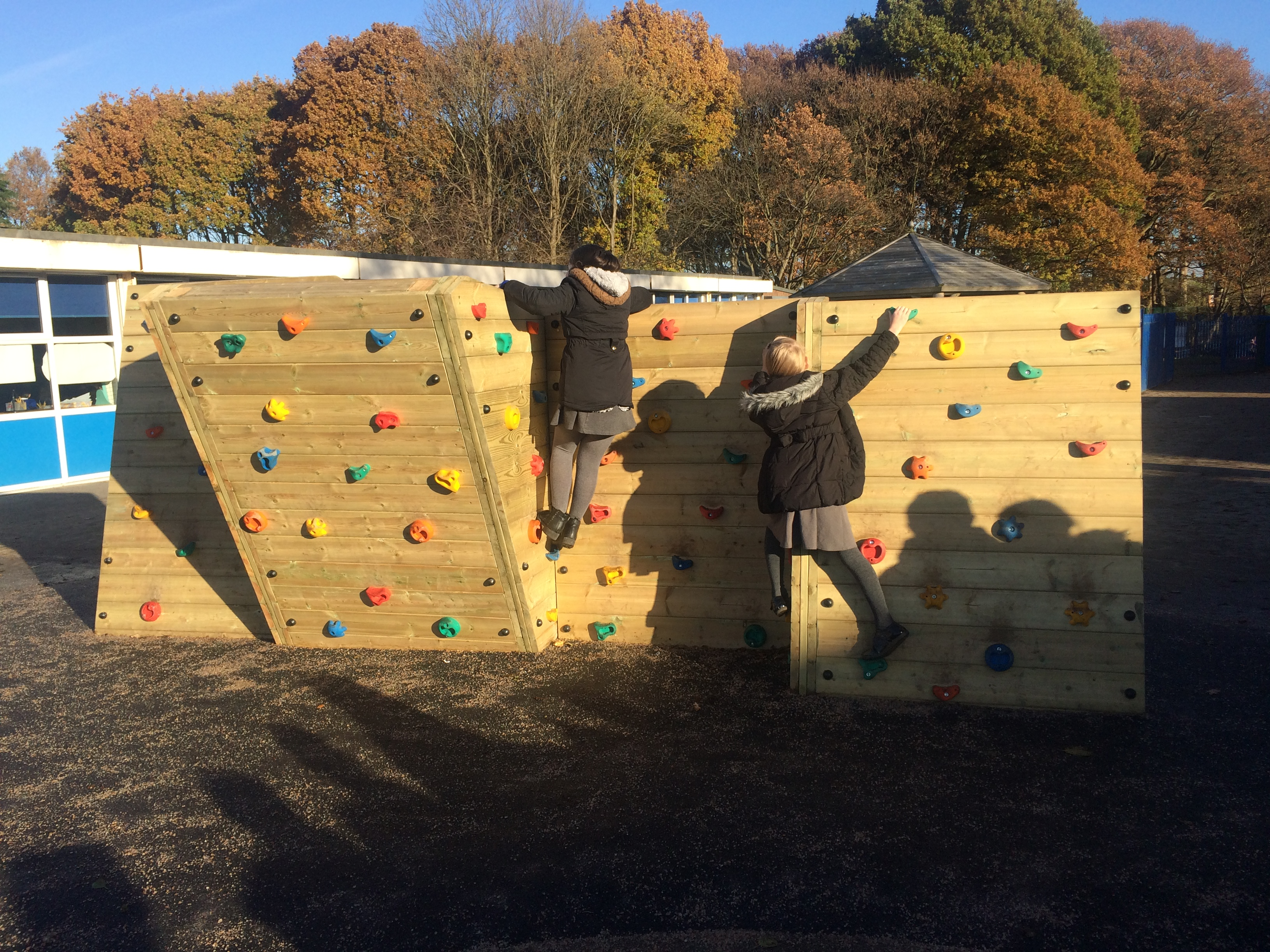 traversing climbing wall for schools