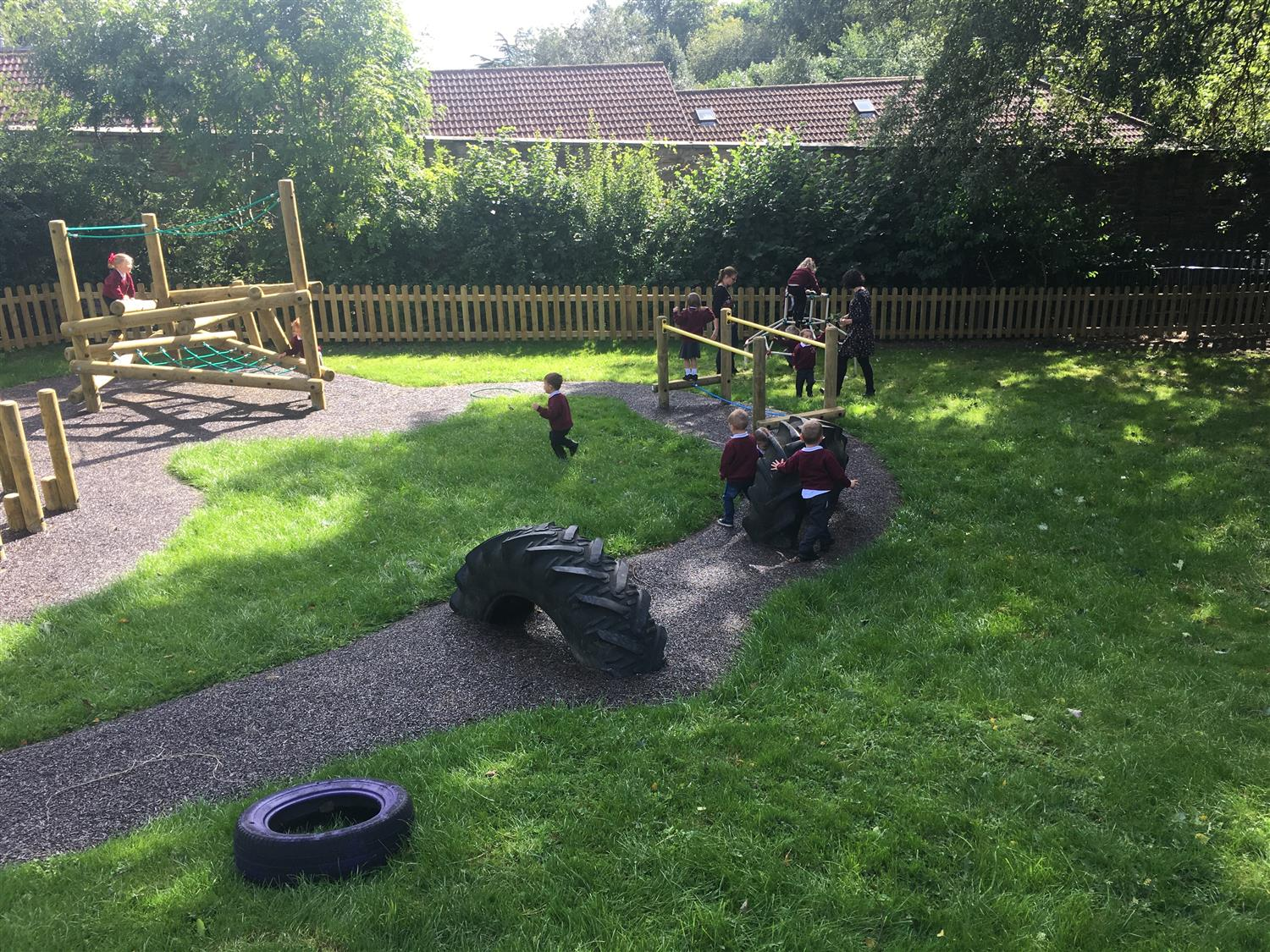 Mary swanwick 39 s playground and water flow area pentagon play for Large garden equipment