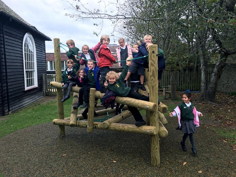 Log climbing frame for schools