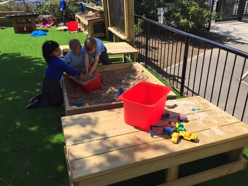 Sand box that promotes free play