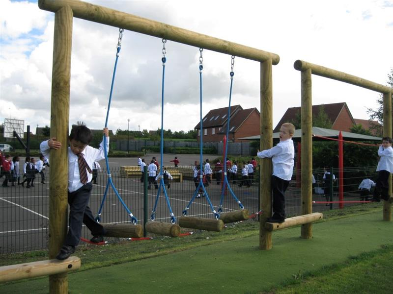 A Trim trail with swinging log