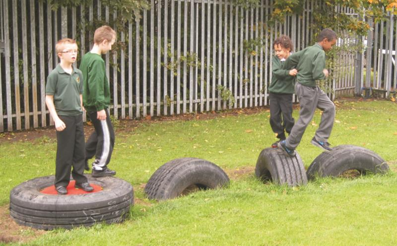 Tyre play equipment for school playgrounds