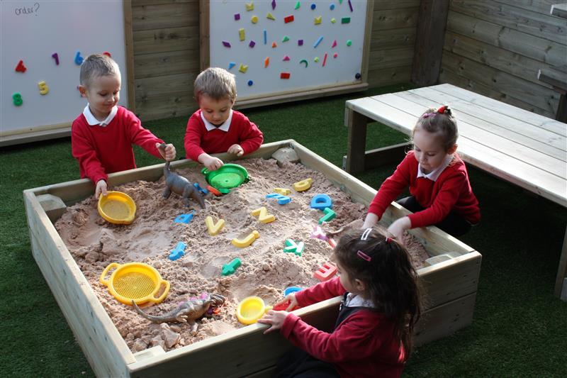 Sensory Play fun with our covered sand box