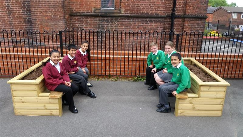 School Playground Benches - Straight Planter Bench