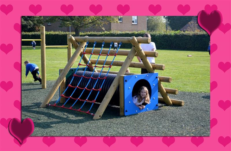 School playground equipment themed for valentines day