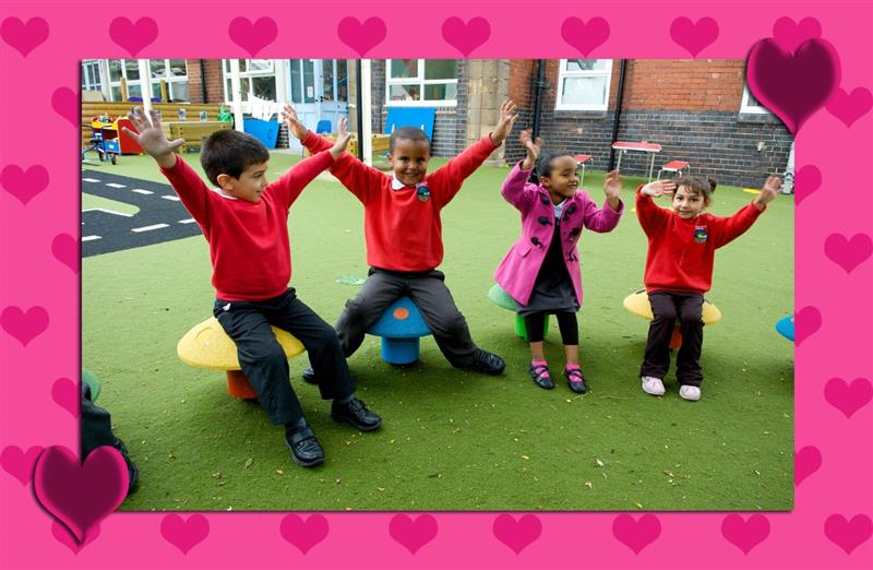 School Playground Seating used for Valentines Day lessons