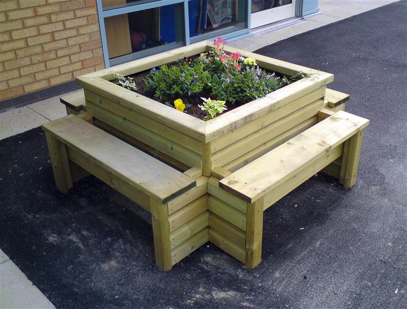 Quad Seat Planter Bench for School Playgrounds