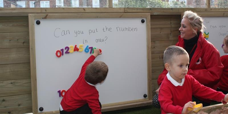 Outdoor whiteboard for playground maths