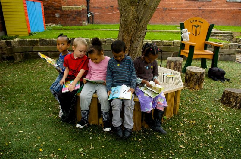 Outdoor Reading on a Tree Seat