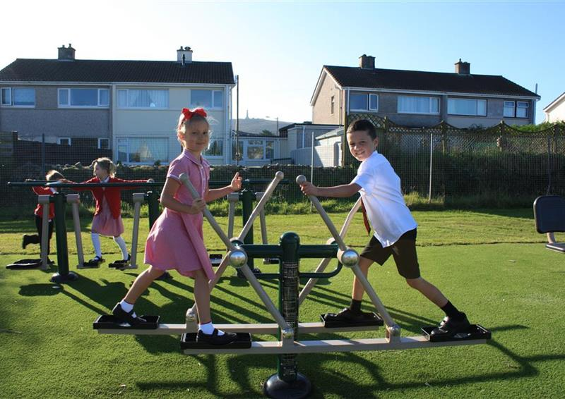 2 children playing on their cross country outdoor gym equipment. 2 young children are in the background playing.