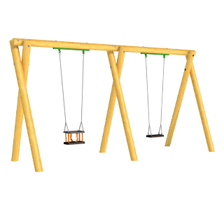 Timber Swing (2.4M) with One Flat and One Cradle Seat