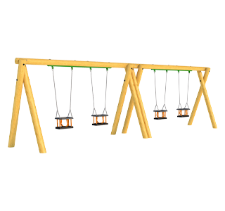 Timber Swing (2M) with Four Cradle Seats
