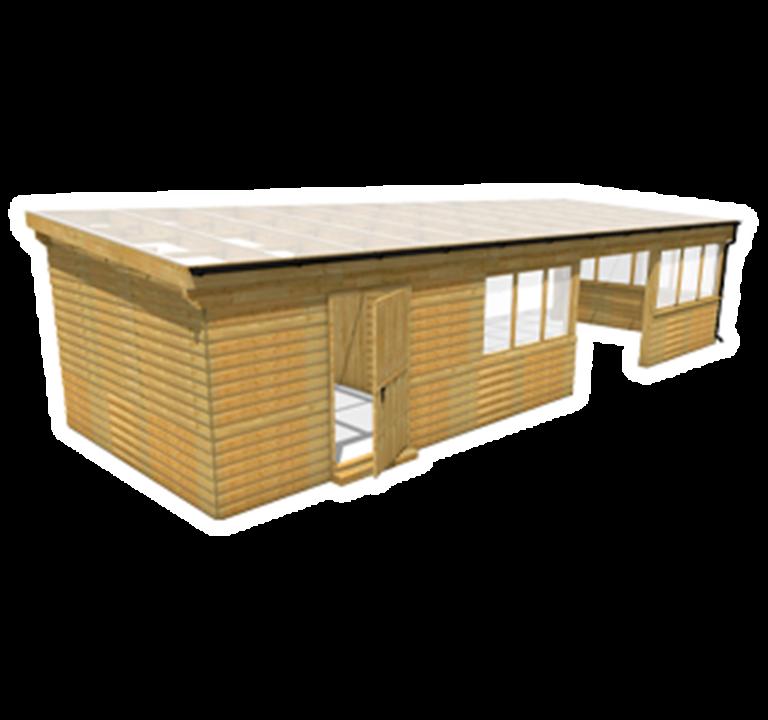 School Canopy with Cladding, Glazing and Storage Area