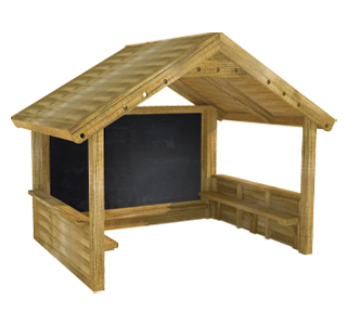 Giant Playhouse with Walls, Chalkboard and Benches