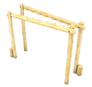 Crisscross Forest Monkey Bars with Step up Logs