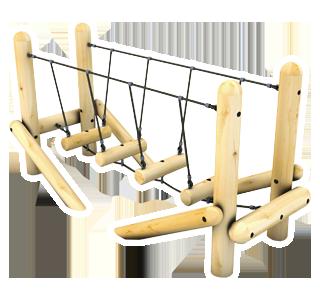 Swinging Log Bridge with Rope Handrails