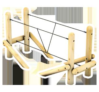 Tightrope Bridge with Rope Handrails