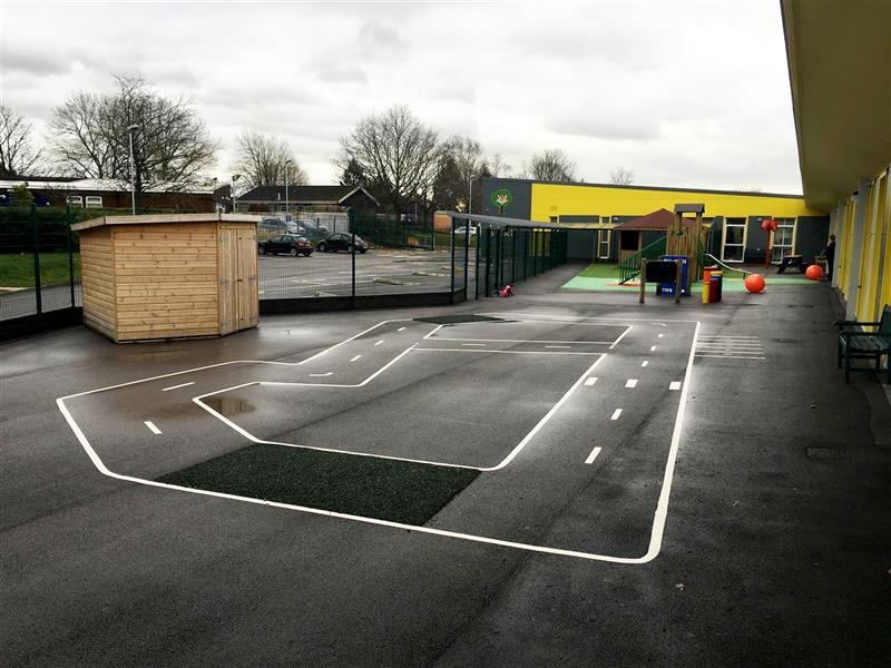 Playground Markings create the perfect roadway to education special need children