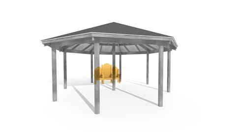 6M Octagonal Gazebo Integrated Story Telling Chair