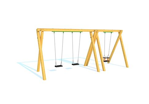 Timber Swing (2.4M) with Two Flat Seats and One Cradle Seat