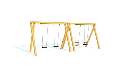 Timber Swing (2.4M) with Two Flat Seats and Two Cradle Seats