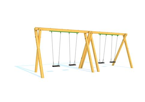 Timber Swing (2.4M) with Four Flat Seats