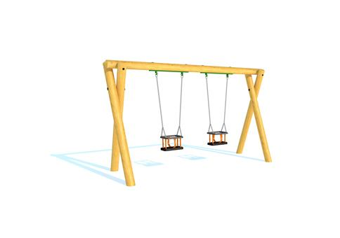 Timber Swing (2M) with Two Cradle Seats